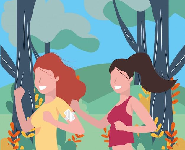 Mujeres corriendo retrato