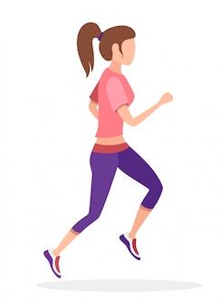 Mujeres corriendo en ropa deportiva. sin personaje de dibujos animados de cara. ilustración sobre fondo blanco
