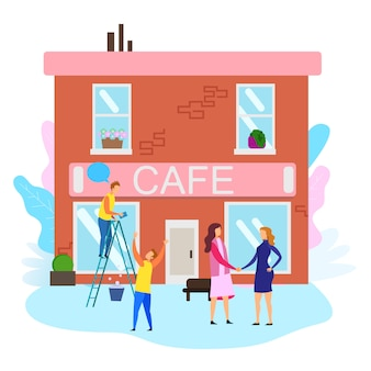 Las mujeres se dan la mano los hombres limpian la ventana del edificio del café