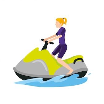 Las mujeres del deporte por encima del barco en el océano cuando la temporada de verano
