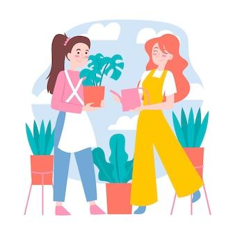 Mujeres dibujadas a mano cuidando plantas.