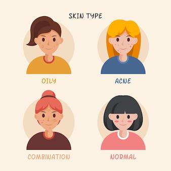 Mujeres dibujadas a mano plana con diferentes tipos de piel.