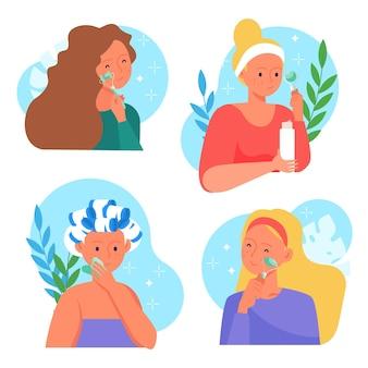 Mujeres dibujadas a mano usando rodillo de jade