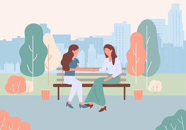 Las mujeres de dibujos animados se sientan en el banco en la calle de park city talk