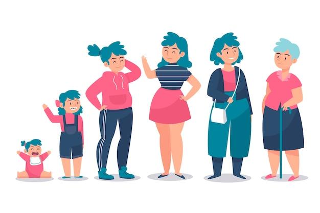 Mujeres de diferentes edades y ropa colorida.