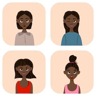 Mujeres con diferentes expresiones faciales y emociones. estilo de dibujos animados ilustración vectorial