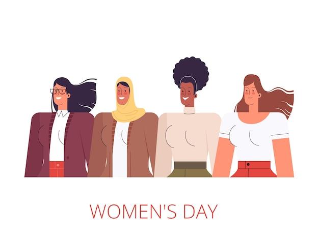 Mujeres de diferentes nacionalidades se paran en fila y sonríen. el concepto de las vacaciones de primavera el 8 de marzo. aislado en un fondo blanco.