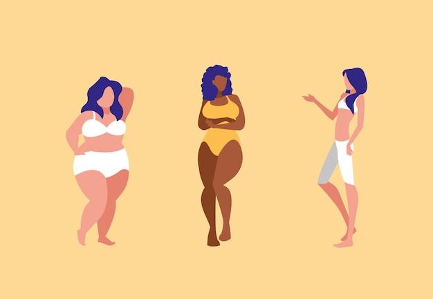 Mujeres de diferentes tamaños y razas modelando ropa interior