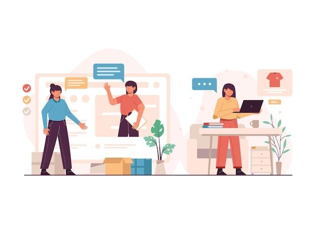 Mujeres de diseño plano que trabajan juntas para iniciar un negocio de venta de ropa en línea ilustración