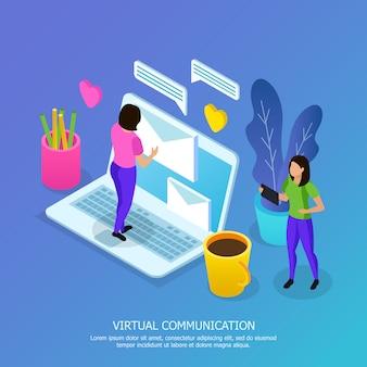 Mujeres con dispositivos móviles durante la composición isométrica de comunicación virtual en azul