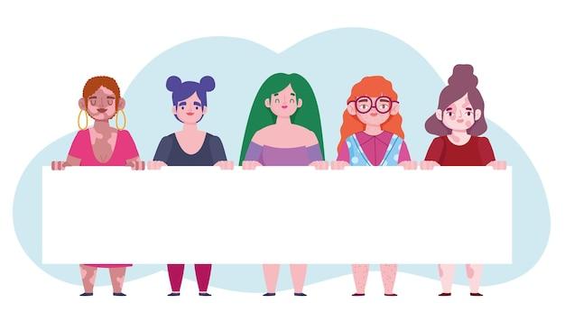 Mujeres diversas con ilustración de amor propio de personaje de dibujos animados de banner