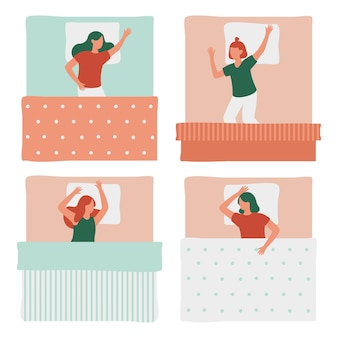 Mujeres durmiendo en la cama conjunto aislado
