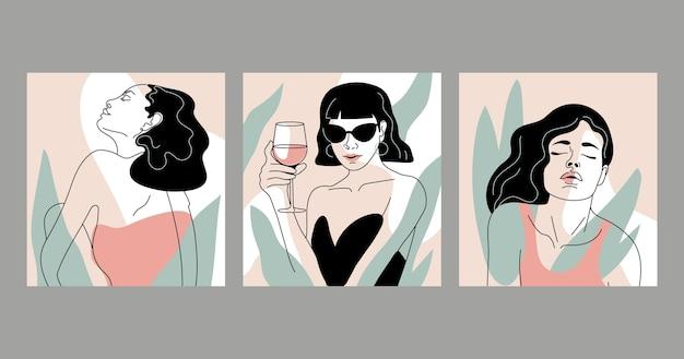 Mujeres en elegante diseño de estilo de arte lineal