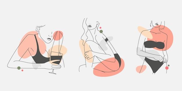 Mujeres en un elegante estilo de arte lineal
