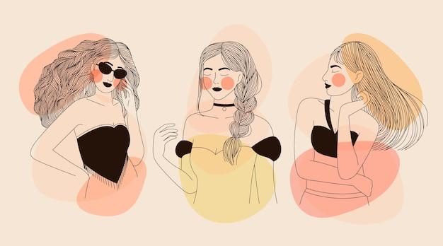 Mujeres en elegante estilo de arte lineal