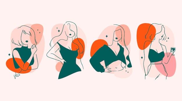 Mujeres en elegante tema de estilo de arte lineal
