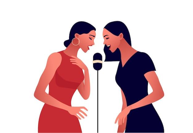 Mujeres elegantes cantando en el micrófono, mujeres hermosas en vestido de fiesta jazz o música pop, ilustración plana