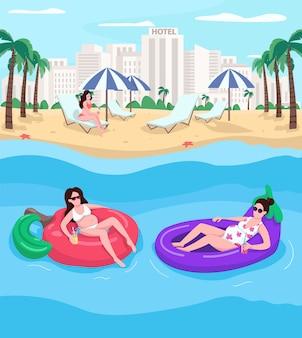 Mujeres embarazadas descansando en la playa de color plano. balneario. vacaciones de verano. señoras flotando sobre colchones de aire. personajes de dibujos animados 2d con paisaje urbano de fondo