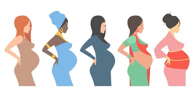 Mujeres embarazadas, futuras madres de diferentes nacionalidades.