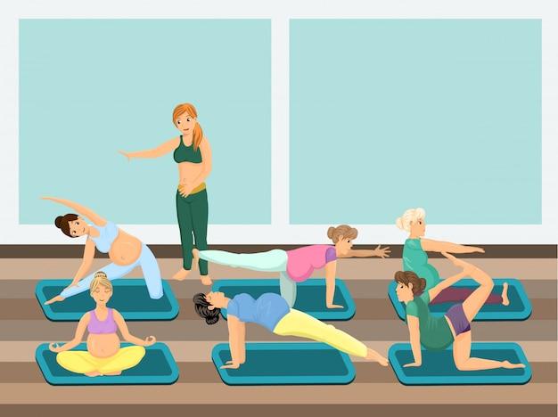 Las mujeres embarazadas hacen yoga con instructor
