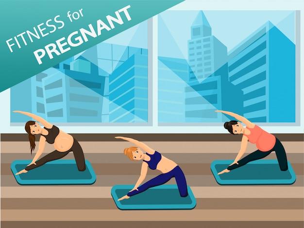 Las mujeres embarazadas hacen yoga