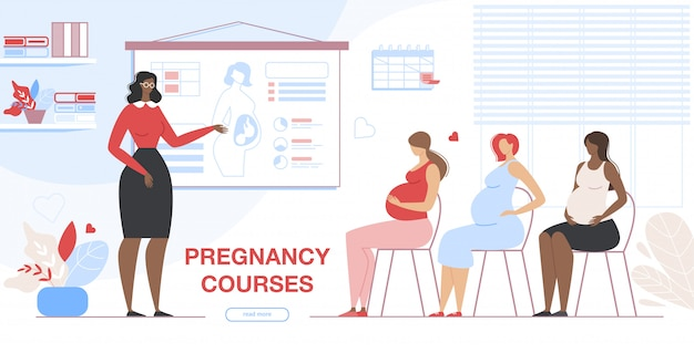 Mujeres embarazadas visitando cursos de embarazo banner