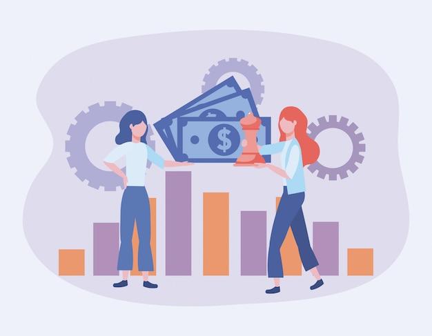 Mujeres empresarias con billetes y estadísticas, barra y engranajes.
