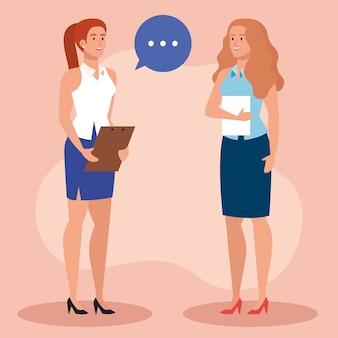 Mujeres empresarias con bocadillo y diseño de ilustraciones de documentos