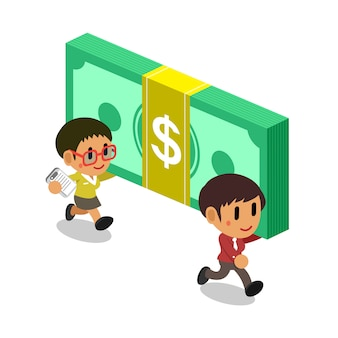 Mujeres empresarias de dibujos animados con gran cantidad de dinero