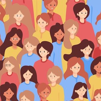 Las mujeres se enfrentan al concepto de patten para el día de la mujer