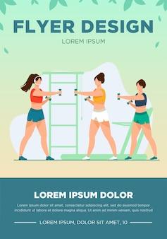 Mujeres entrenando con pesas en el gimnasio. gimnasio, músculo, brazo plano ilustración vectorial. concepto de deporte y estilo de vida saludable