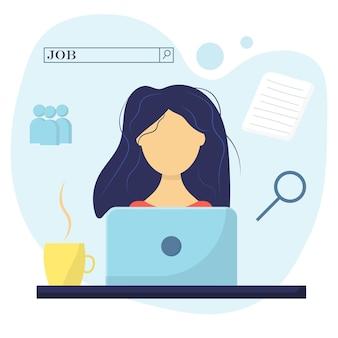 Las mujeres están buscando trabajo guy con concepto de búsqueda de trabajo portátil