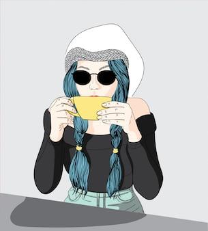 Las mujeres están tomando café en una tienda.