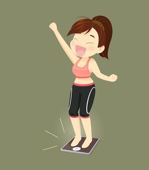 Mujeres con éxito perdiendo peso, concepto con diseño de dibujos animados, ilustración vectorial