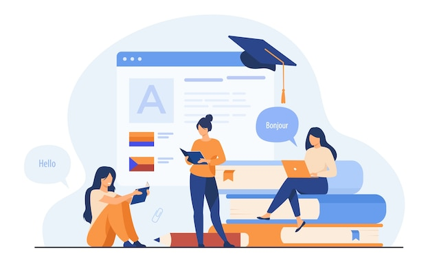 Mujeres felices aprendiendo el idioma en línea aislado ilustración vectorial plana. personajes femeninos de dibujos animados que toman lecciones individuales a través de messenger. concepto de educación y tecnología digital