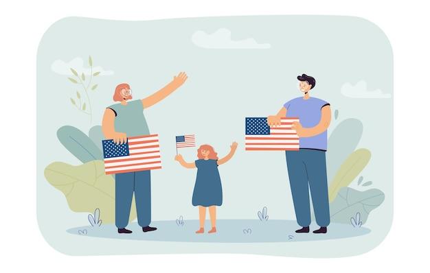 Mujeres felices y niña de pie con banderas de estados unidos. gente celebrando la ilustración plana del día de la independencia americana