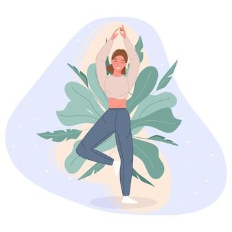 Mujeres felices pararse en el piso y meditar en pose de yoga