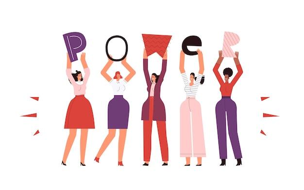 Las mujeres fuertes e independientes ostentan el poder de inscripción. aislado en un fondo blanco.