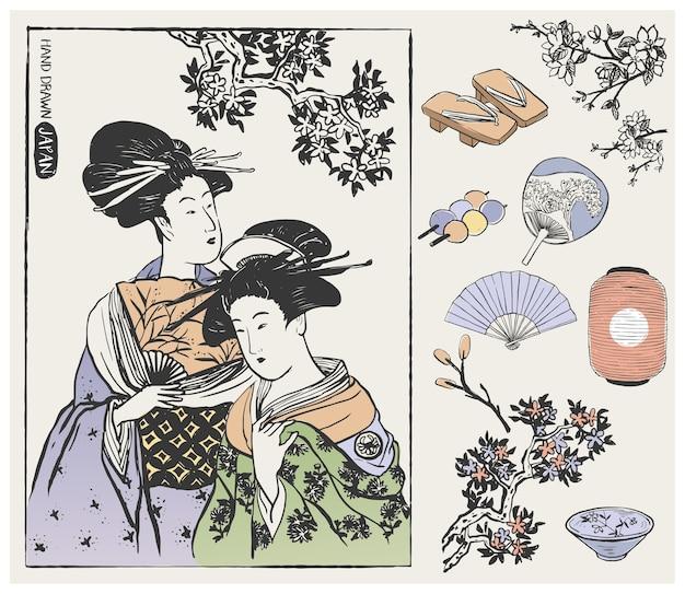 Mujeres geishas y elementos de diseño japonés. ilustración.