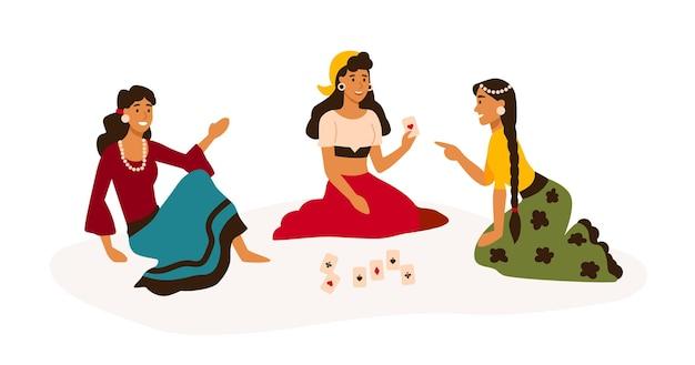Mujeres gitanas en ropa tradicional brillante leyendo tarjetas ilustración plana.