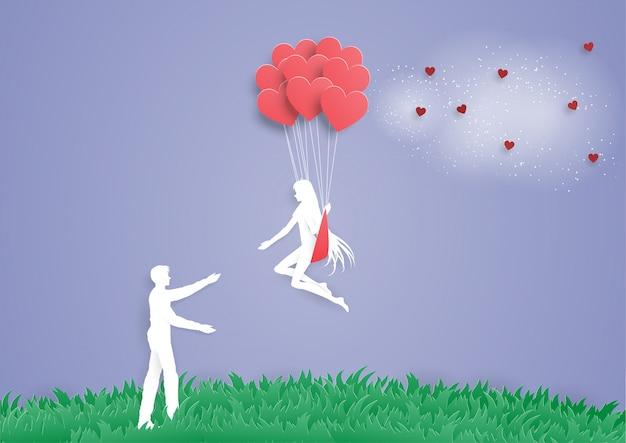 Las mujeres en el globo del corazón van al hombre pareja amor