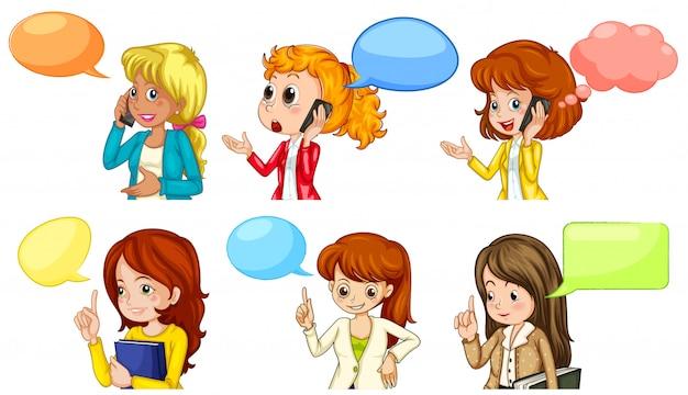 Mujeres hablando con espacio en blanco
