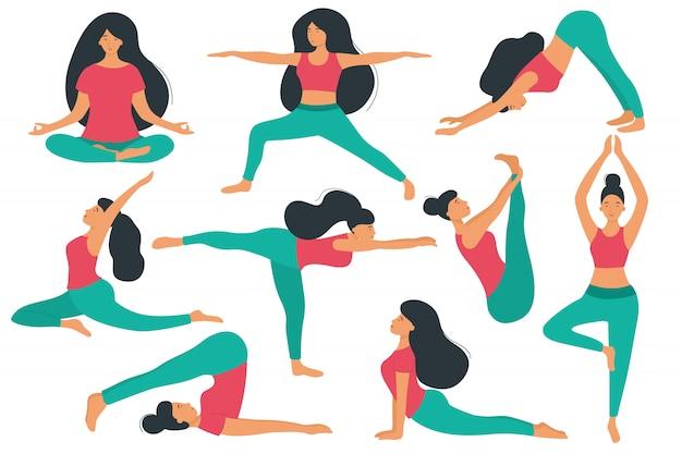 Las mujeres hacen yoga, diferentes asanas y poses. personajes de dibujos animados vector conjunto de prácticas de yoga.