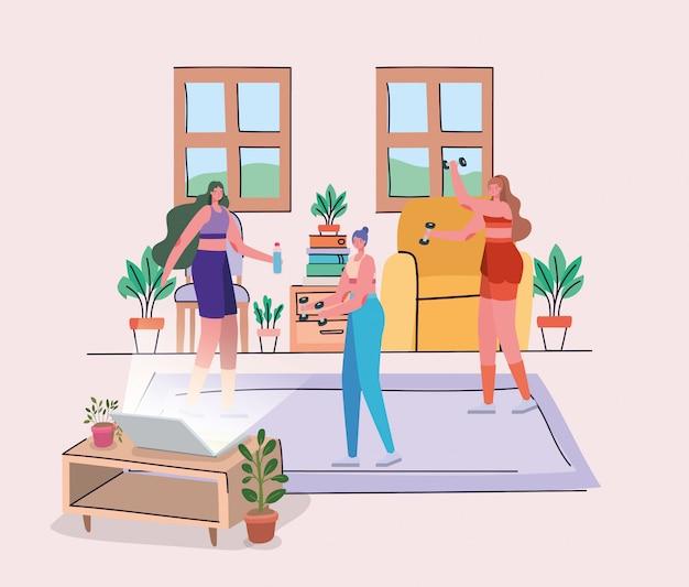 Mujeres haciendo deporte delante del portátil