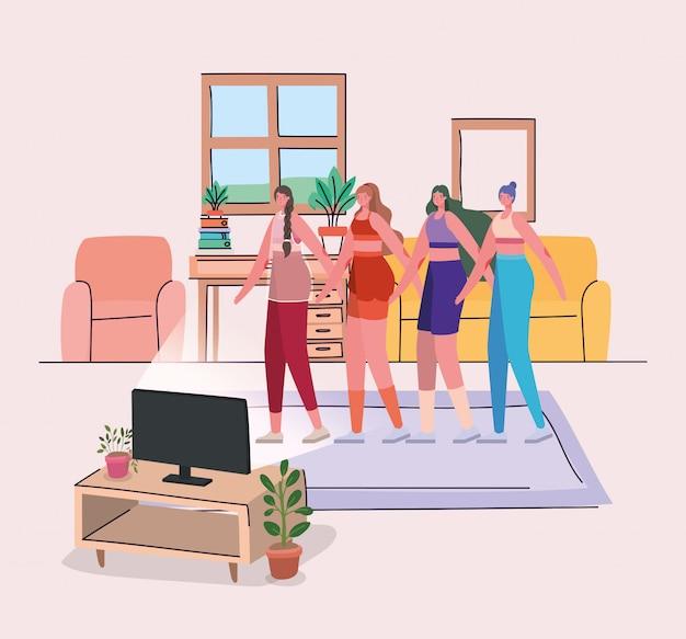 Mujeres haciendo deporte frente a la computadora