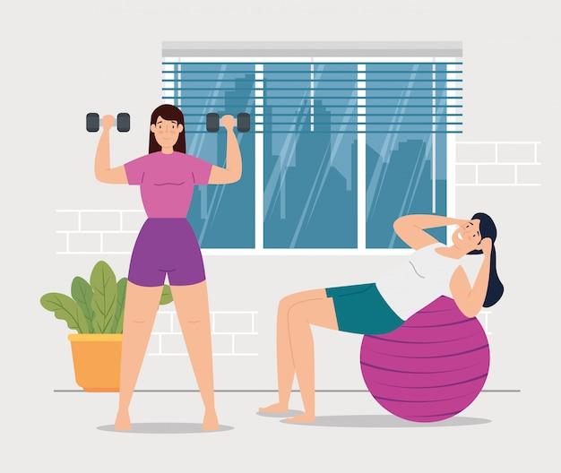 Mujeres haciendo ejercicio en el diseño de ilustración de vector de escena de la casa