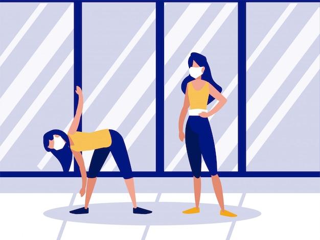 Mujeres haciendo ejercicios en casa