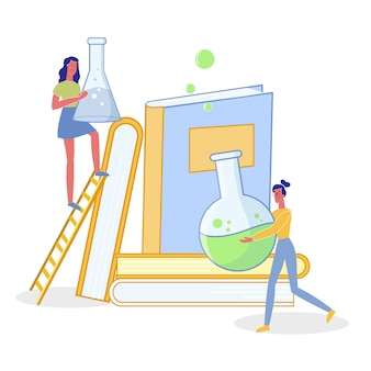 Mujeres haciendo investigación científica ilustración plana