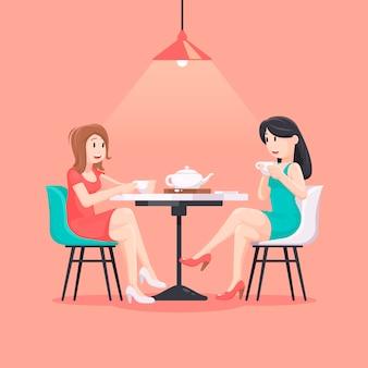 Mujeres hermosas en una ilustración de café