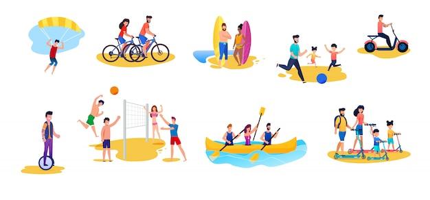 Mujeres y hombres activos que tienen resto conjunto de dibujos animados plana. ciclismo, parapente, surf, jugar pelota y voleibol, montar en monociclo, conducir ciclomotor, scooting, pasear en bote